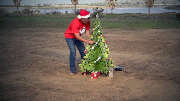 Santa Flying Christmas Tree Drone Created Otto Dieffenbach