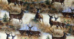 Scenic Field Deer Buck Wildlife Custom Sewn Cabin Lodge Curtain