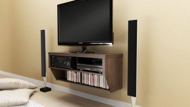 Series Designer Brown Wide Wall Mounted Entertainment Console