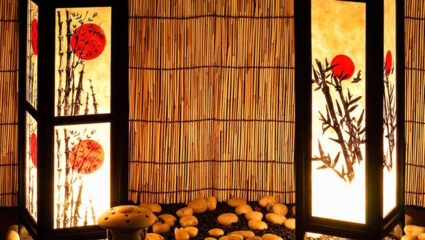 Set Japanese Bamboo Sun Bedside Table Lamp Oriental Home