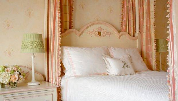 Shabby Chic Girl Bedroom Pink Striped Canopy Curtains