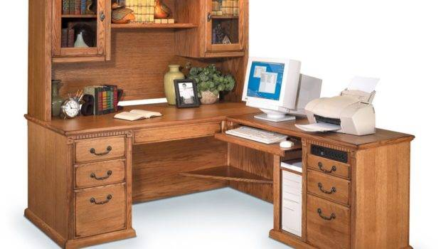 Shaped Desk Hutch Storage Within Small Office