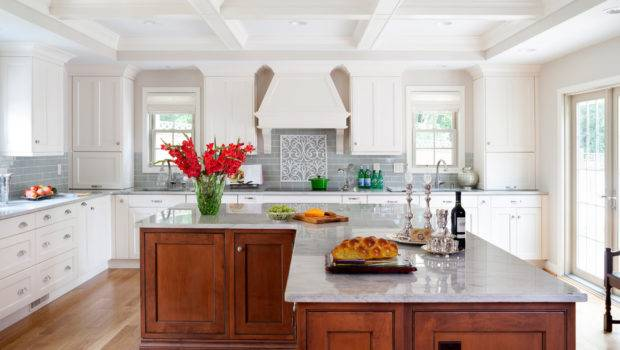 Shaped Kitchen Island Traditional Beige