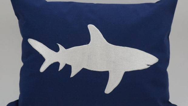 Shark Pillow Cover Embroidery Nautical Beach Indodesigns
