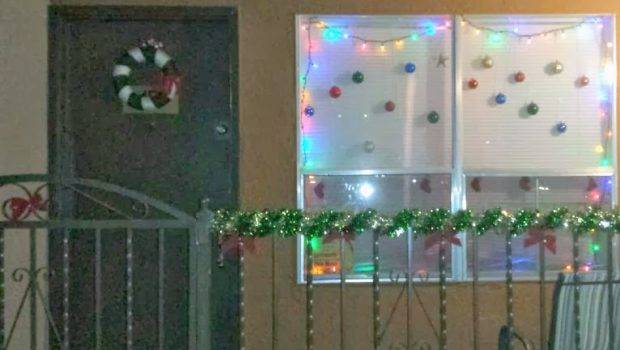 She Added Stockings Her Front Window Christmas Bulbs