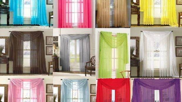 Sheer Scarf Valance Drapes Voile Window Panel Curtains