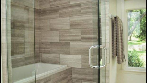 Shower Enclosed Neutral Tile Natural Stone Floor Fully