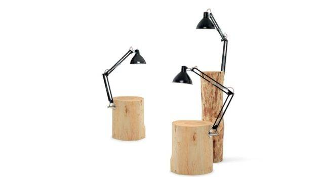 Side Table Lamp Natural Solid Wood