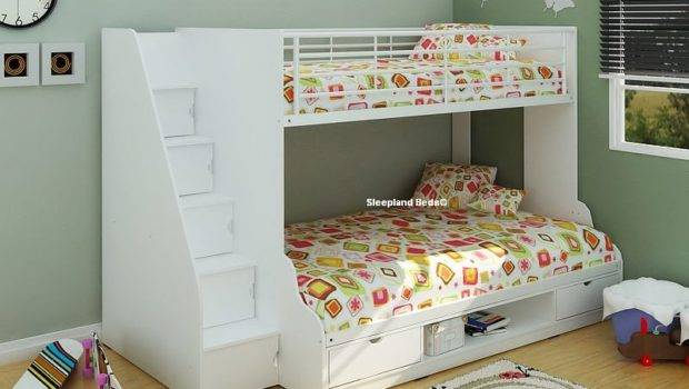 Single Small Double Bed Bunk Beds Sleepland White Trio Bunks