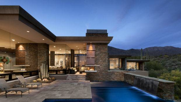 Single Story Contemporary Home Located Scottsdale Arizona Usa