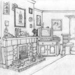 Sketch Own Living Room Never Been Much Cop Drawing