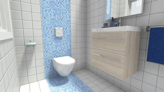 Small Bathroom Accent Wall Blue Mosaic Tile