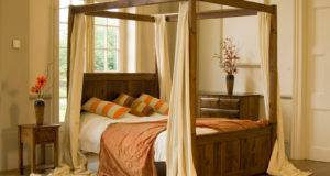 Small Four Poster Canopy Bed Design Inspiration Creamy Curtain