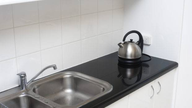 Small Kitchen Double Stainless Steel Sink Unit Black Countertop