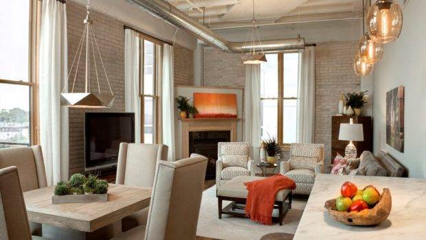 Small Loft Apartment Living Room Industrial Exposed