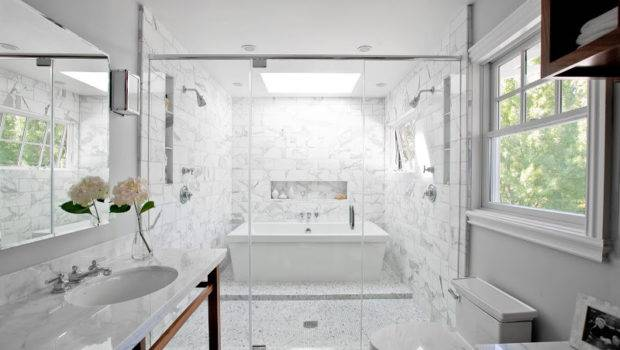 Smart Design Bath Tub Inside Marble Shower Very Wet