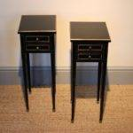 Smart Small Pair French Ebonised Bedside Tables Furniture