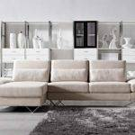 Soft Fabric Sectional Sofa Built End Table
