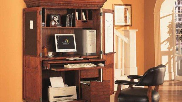 Solid Oak Home Office Computer Armoire Chairs