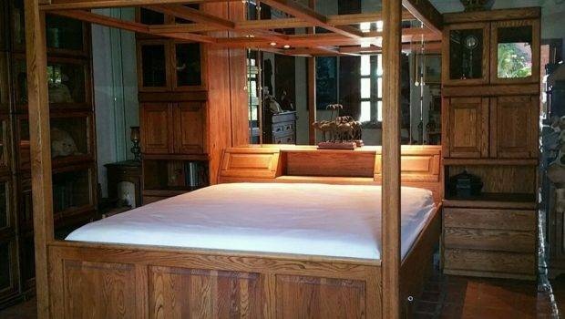 Solid Oak Wood Canopy Waterbed Water Bed Drawers Storage Cal King