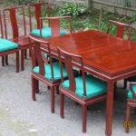 Solid Rosewood Rectangular Dining Table Set Chairs Chinese