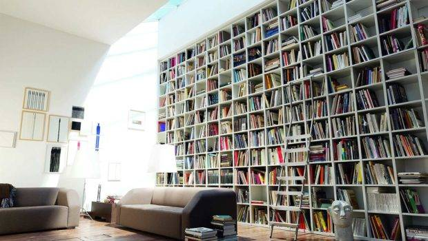 Space Amazing Large Bookshelf Plans Modern Home Library Wooden Floor