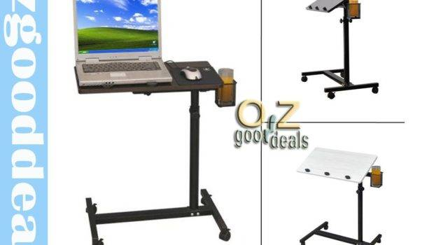 Space Saving Bedside Rotating Computer Desk Laptop Table Food Tray