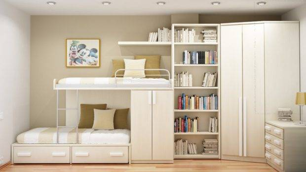 Space Saving White Wooden Beds Furniture Italy