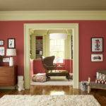 Splendid Living Room Paint Ideas Red Wall Color Retro Style