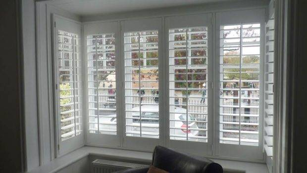 Square Bay Window Fitted Matching Wooden Shutters