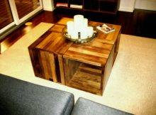 Square Grey Wooden Coffee Table Racks Four
