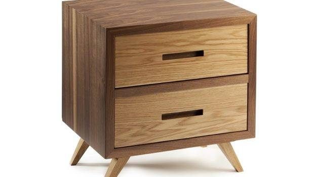 Square Wooden Bedside Table Drawers Space Mambo