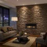 Stacked Stone Tile Fireplace