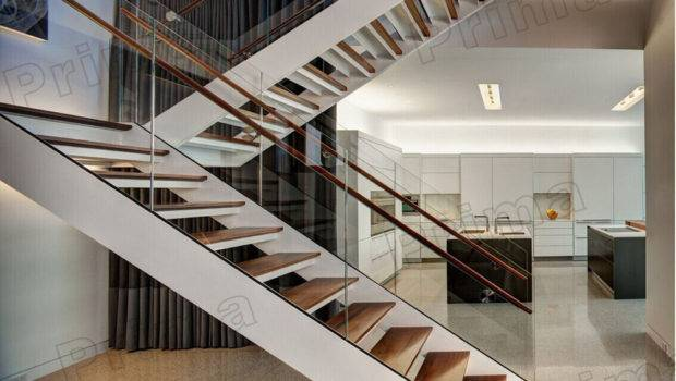 Staircase Tempered Glass Railing Custom Shaped