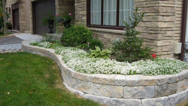 Stone Paver Patios Front Yard Landscaping Retaining
