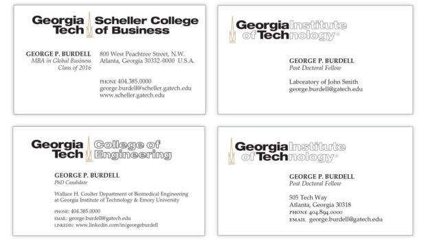 Student Business Cards Licensing Trademarks Georgia