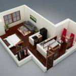 Studio Type Single Room House Lay Out One