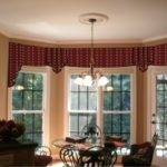 Stunning Red Valances Unique Bay Window Using Beige Wall Color