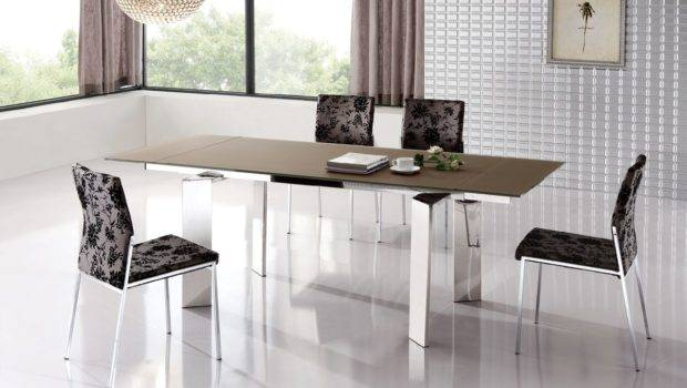 Stylish Extendable Dining Table Metal Legs Esf