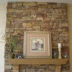 Stylish Fieldstone Fireplace Design Indoor Plant Artistic Wall Mural