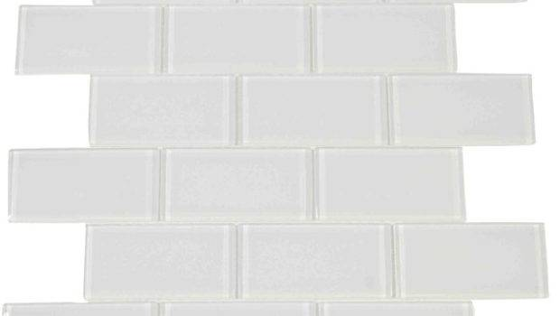 Subway Glass Tile White Sample Contemporary Wall