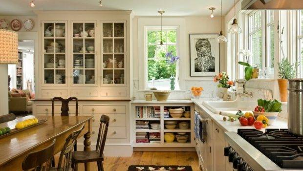 Such Cozy Country Style Kitchen Open Shelving Hooked