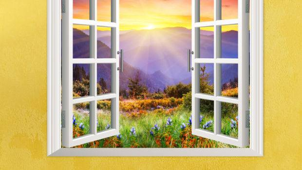Sunrise Artificial Window Pag Wall Decals Hill