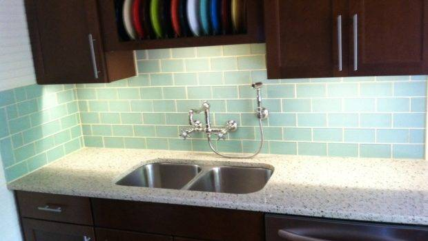 Surf Glass Subway Tile Kitchen Backsplash Outlet