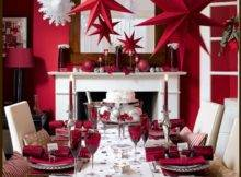 Table Christmas Decoration Ideas Fireplace Mantel Wooden Dining