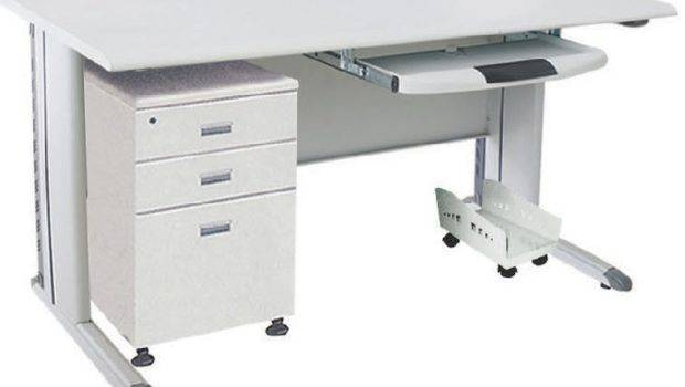 Table Computer Desk One Simple Movable Cabinet Steel