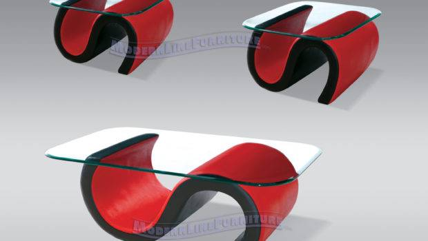 Tables Model Contemporary Red Black Leather Set Coffee