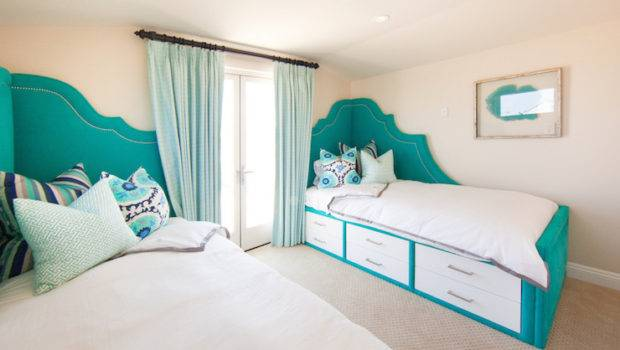 Teal Headboard Contemporary Bedroom Brooke Wagner Design
