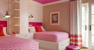 Teen Bedroom Decoration Pink Ceiling Wall Shelves Also Small