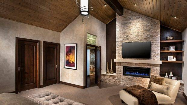 Television Over Fireplace Thought Contemporary Bedroom